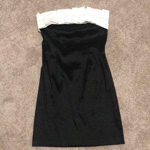 White Fringe Black Dress